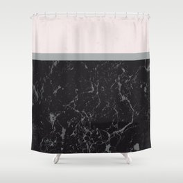Grey Black Marble Meets Romantic Pink #1 #decor #art #society6 Shower Curtain
