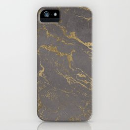 Modern Grey cement concrete gold marble pattern iPhone Case