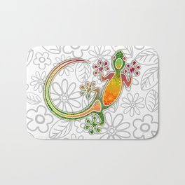 Gecko Floral Tribal Art Bath Mat