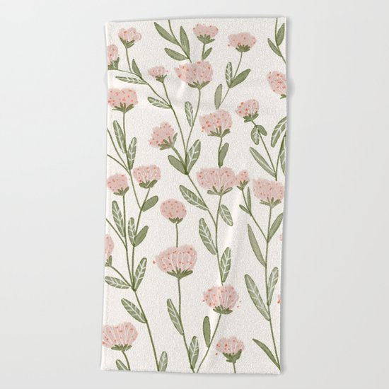 Rose Garden Pattern Beach Towel