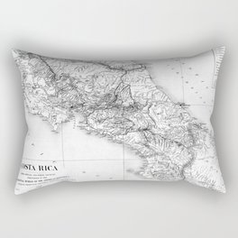 Vintage Map of Costa Rica (1903) BW Rectangular Pillow