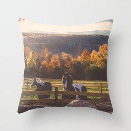 New England Fall Drive Throw Pillow