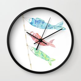 Watercolor Japan Carp Streamers / Koinobori Wall Clock