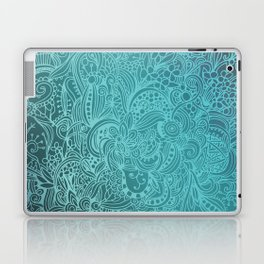 Detailed zentangle square, blue colorway Laptop & iPad Skin