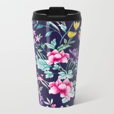 Chinoiserie french navy floral Metal Travel Mug