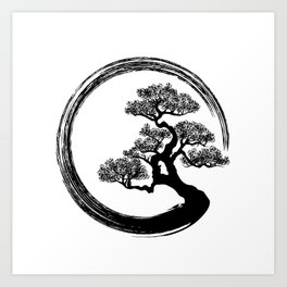 Enso Zen Circle and Bonsai Tree Art Print