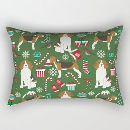 Beagle christmas dog print cute beagle christmas print love beagles Rectangular Pillow