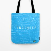 engineer Tote Bags featuring BLUE - ENGINEER by Be Raza