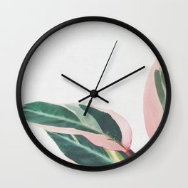 Pink Leaves II Wall Clock