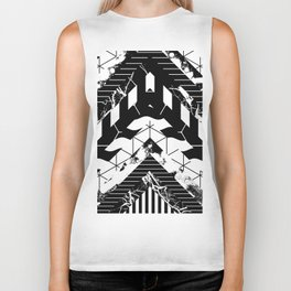 Layered (Black and white, abstract, geometric designs) Biker Tank