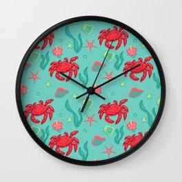Seafoam Crabs Wall Clock