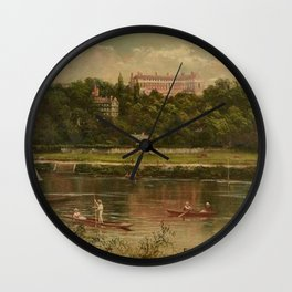 The Royal Star and Garter Home - Richmond on the Thames River landscape by James Isaiah Lewis Wall Clock