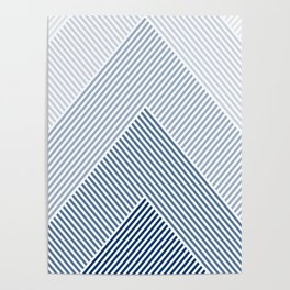 Shades of Blue Abstract geometric pattern Poster