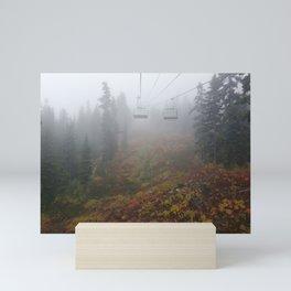 Foggy mountains fall morning Mini Art Print