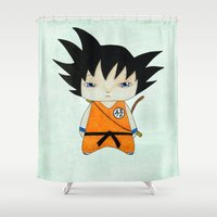 dbz Shower Curtains featuring A Boy - Goku by Christophe Chiozzi