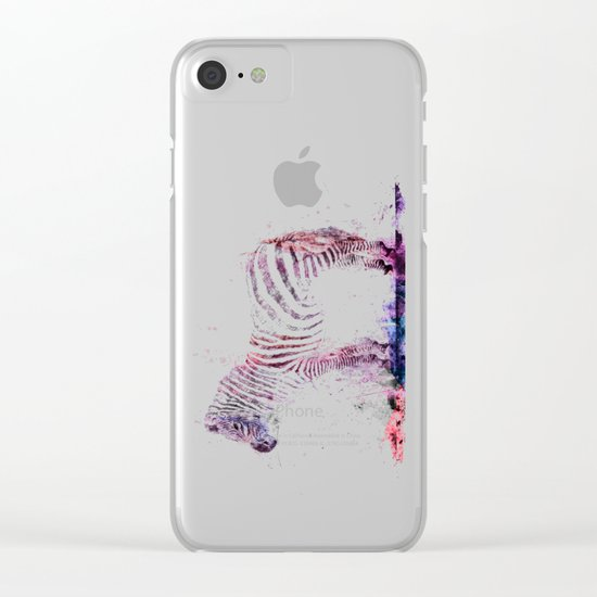 Watercolor Wash Zebra Clear iPhone Case
