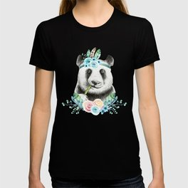 Watercolor Floral Spray Boho Panda T-shirt