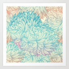 Gradient Floral Pattern 04 Art Print