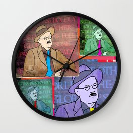 JAMES JOYCE, POP ART STYLE 4-UP COLLAGE Wall Clock