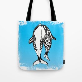 Two Orca Whales Tribal Blue Art Tote Bag
