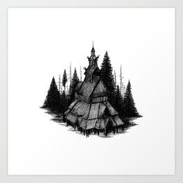 Fantoft Stave Church Art Print