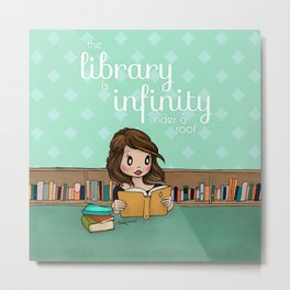 The Library is Infinity Under a Roof Metal Print