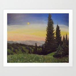 Moonlit Mountain Art Print