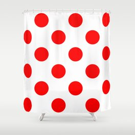 Large Polka Dots - Red on White Shower Curtain