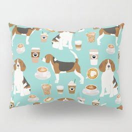 Beagle coffee print cute dog beagles coffees lattes Pillow Sham