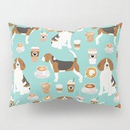 Beagle coffee print cute dog beagles coffees lattes Pillow Sham