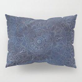 Vintage Circle of Life Mandala full color on blue swirl Distressed Pillow Sham