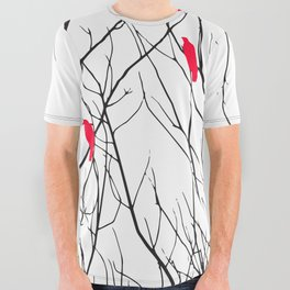 Artistic Bright Red Birds on Tree Branches All Over Graphic Tee