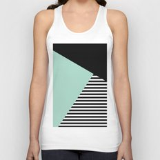 Mint Color Block with Stripes // www.penncilmeinstationery.com Unisex Tank Top
