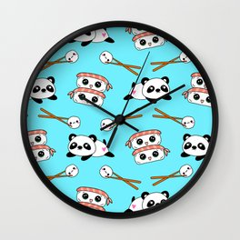 Cute funny Kawaii chibi little playful baby panda bears, happy sweet cheerful sushi with shrimp on top, rice balls and chopsticks light pastel blue pattern design. Nursery decor. Wall Clock