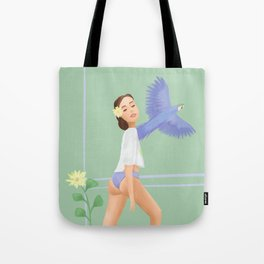 Girl with a parrot Tote Bag