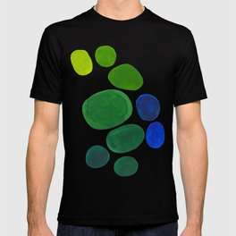 Mid Century Kusama Abstract Minimalist Colorful Pop Art Lime Green Blue Rainbow Ombre Gradient T-shirt
