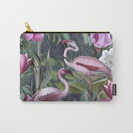 Vintage Botanical Flamingo Jungle With Pink Flowers Carry-All Pouch