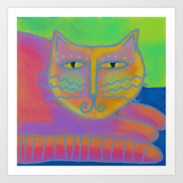 Colorful Abstract Cat Digital Painting  Art Print