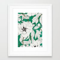 peonies Framed Art Prints featuring green peonies by Marcella Wylie