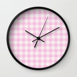 Blush pink white gingham 80s classic picnic pattern Wall Clock