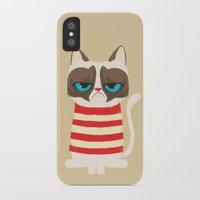 meme iPhone & iPod Cases featuring Grumpy meme cat  by UiNi