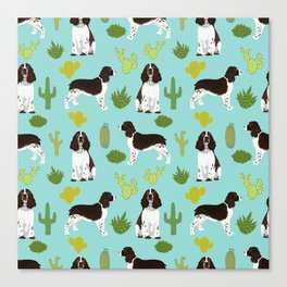 English Springer Spaniel southwest desert cactus pattern by pet friendly Canvas Print