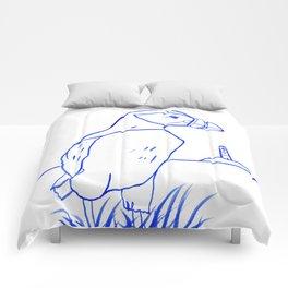 Atlantic Puffin Watercolor Line Drawing Comforters