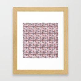 White Scattered Daisies on Hot Pink Framed Art Print