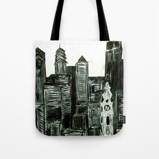 Black and White Philly Skyline Tote Bag
