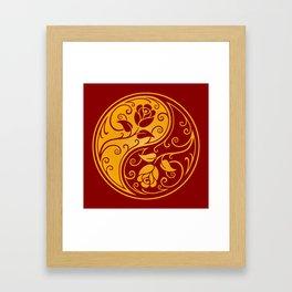 Yellow and Red Yin Yang Roses Framed Art Print