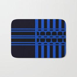 Bright Bold Blue Lines Design Bath Mat
