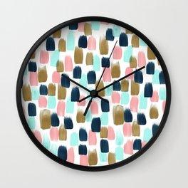Pink, Mint, Navy & Gold Abstract Print, Nursery Art, Little Girls Room Wall Clock