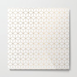Gold Geometric Pattern on White Background Metal Print
