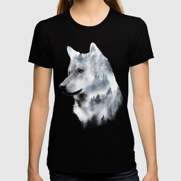 Double exposure wolf T-shirt